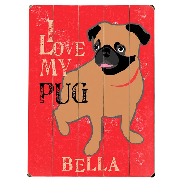 Personalized Pug Graphic Art Print Multi-Piece Image on Wood by Artehouse LLC