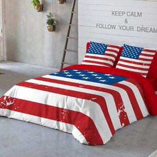 American Flag Cotton 3 Piece Queen Duvet Set