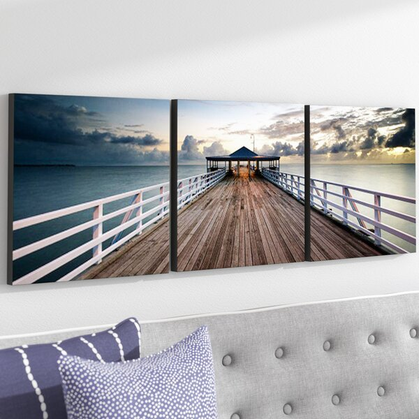 Brisbane Pier Wall Mounted Triptych 3 Piece Photographic Print Set by Ebern Designs