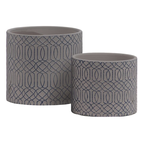 Duenweg 2-Piece Stone Pot Planter Set by Bungalow Rose