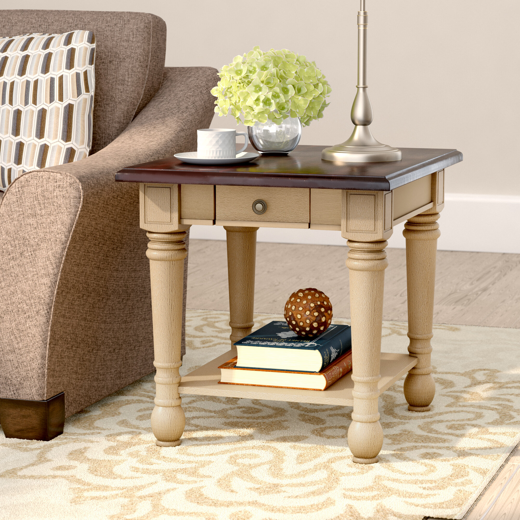 Three Posts Classic Two Tone End Table With Storage & Reviews