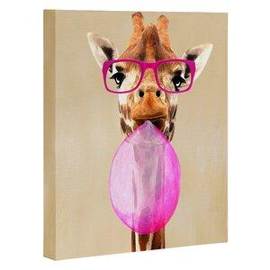 'Paris Clever Giraffe with Bubblegum' Graphic Art Print by East Urban Home