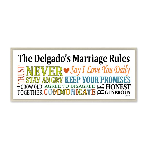 Personalized Marriage Rules Say I Love You Daily by Janet White Skinny Textual Art Plaque by Stupell Industries