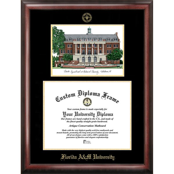 NCAA Florida A&M University Gold Embossed Diploma with Campus Images Lithograph Picture Frames by Campus Images