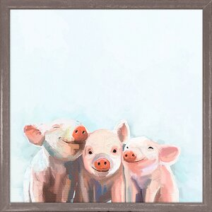 Three Little Piggies by Cathy Walters Mini Canvas Framed Art by Oopsy Daisy