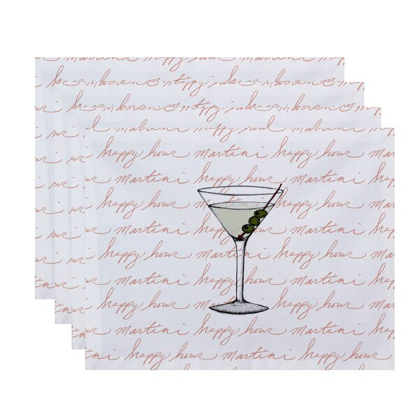 Felice Martini Glass Text Fade Placemat (Set of 4) by Ivy Bronx