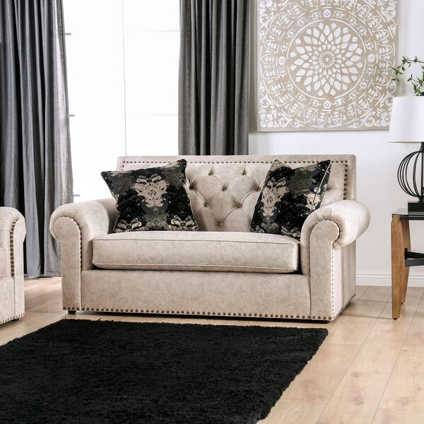 Roseau Rolled Arms Loveseat by Canora Grey