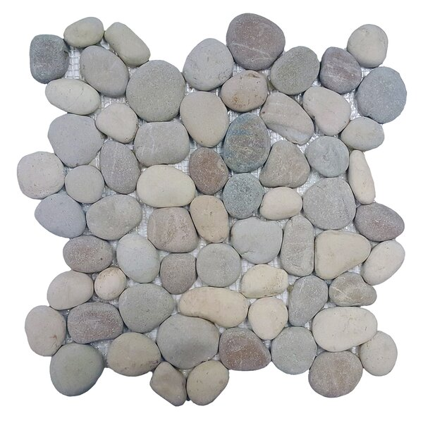 River Rock Random Sized Natural Stone Pebble Tile in Terrene Blend by Solistone