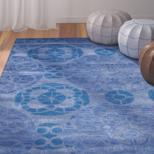 Kouerga Handmade Wool Blue Area Rug by Bungalow Rose