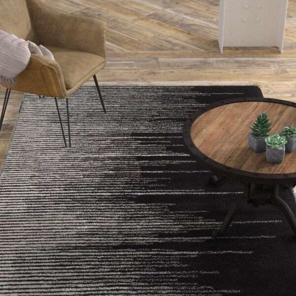 Brittanie Hand-Tufted Black/Gray Area Rug by Williston Forge