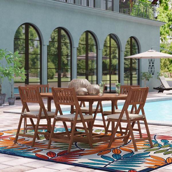 Roseland 7 Piece Dining Set with Cushions by Beachcrest Home