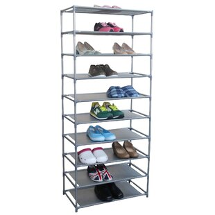 Great choice 10 Tier 30 Pair Non Woven Fabric Shoe Shelf Rack By Rebrilliant
