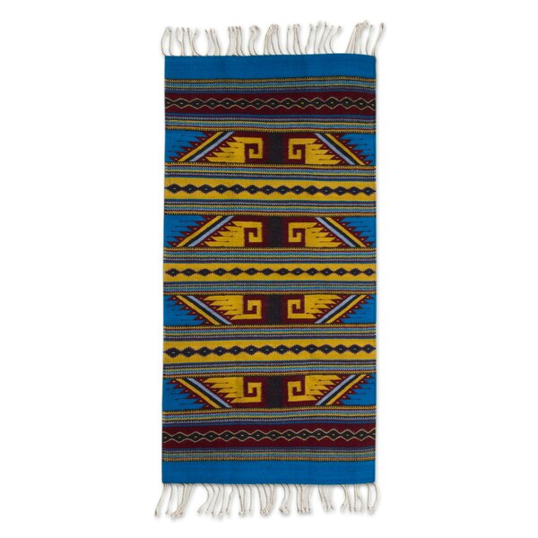 Hand-Woven Blue/Yellow Are Rug by Novica