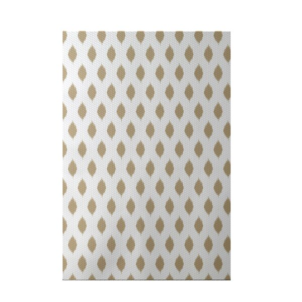 Cop-Ikat Geometric Print Khaki Indoor/Outdoor Area Rug by e by design