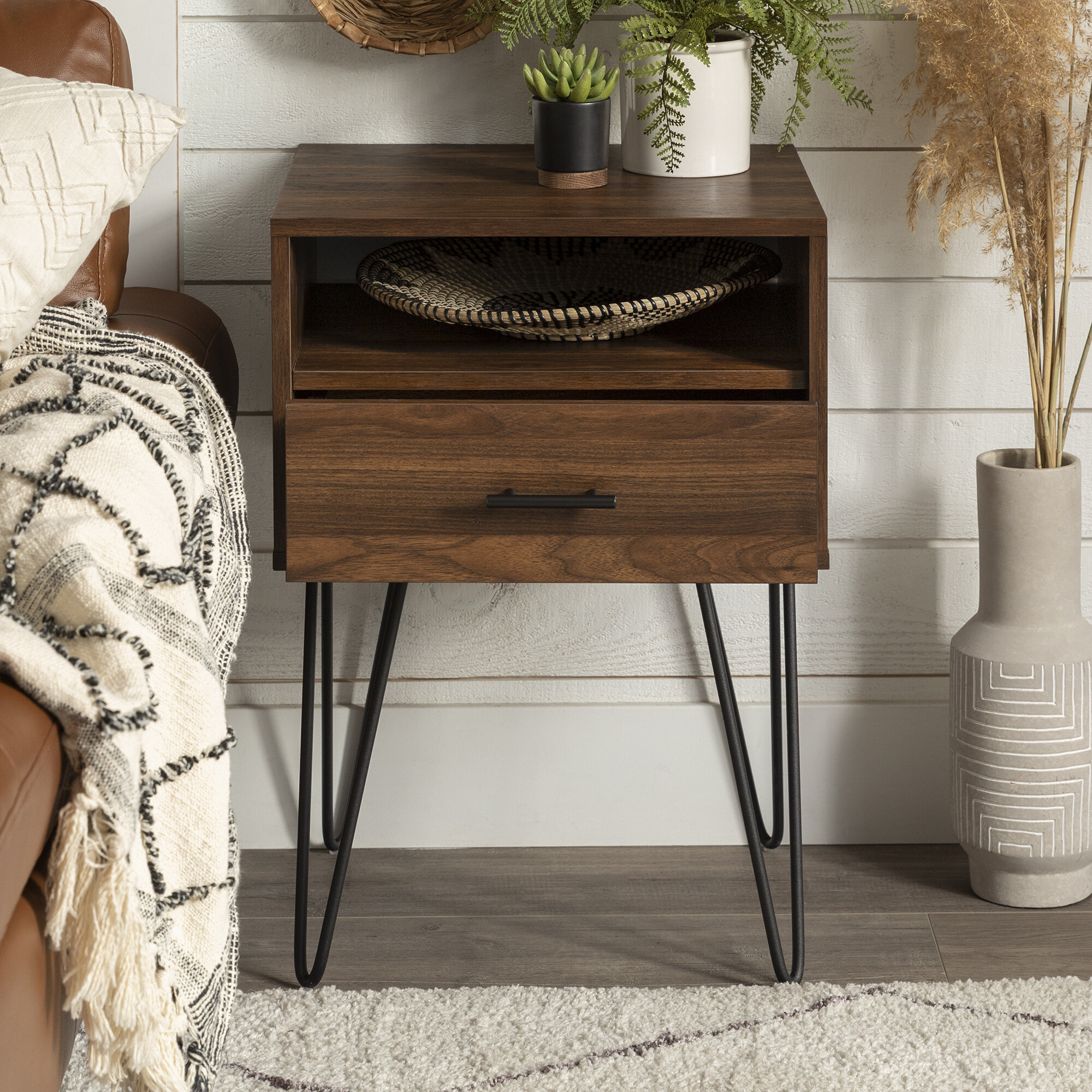 Living Room Furniture Kamiler End Table Industrial Nightstand With Drawer Side Table Mesh Storage Shelf Sofa Table Rustic Furniture Metal Frame For Bedroom Entryway Office Home Classiccakes Co Nz