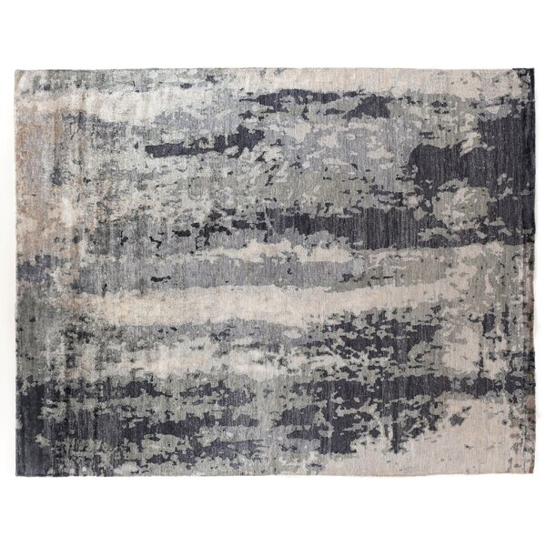 Abstract Expressions Hand-Knotted Silk Blue/Gray Area Rug by Exquisite Rugs