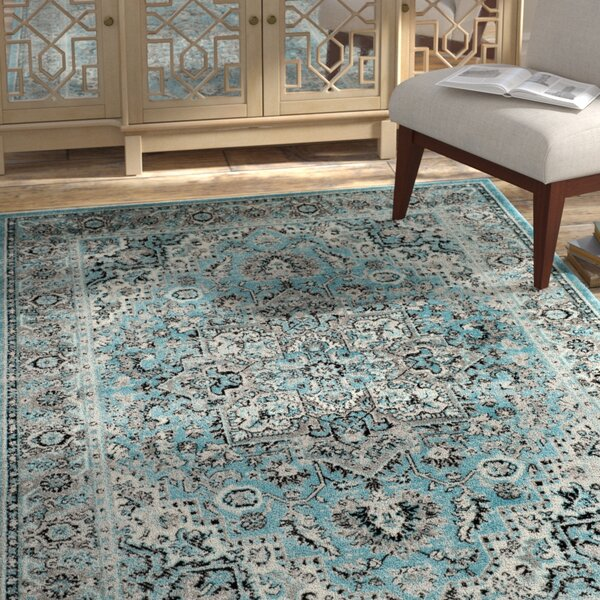 Doty Blue/Ivory Area Rug by Bungalow Rose