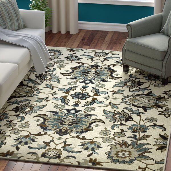 Boykins Flowers Ivory/Blue Area Rug by Three Posts