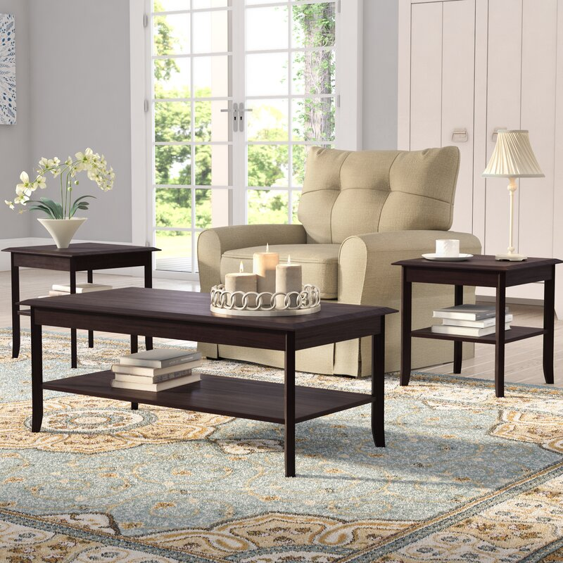 andover mills jessica 3 piece coffee table set ando1645