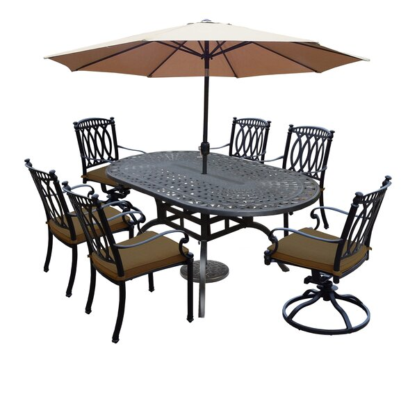 Otsego 7 Piece Rust Resistant Aluminum Dining Set with Cushions by Darby Home Co