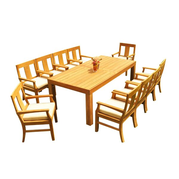 Samir 11 Piece Teak Dining Set by Rosecliff Heights