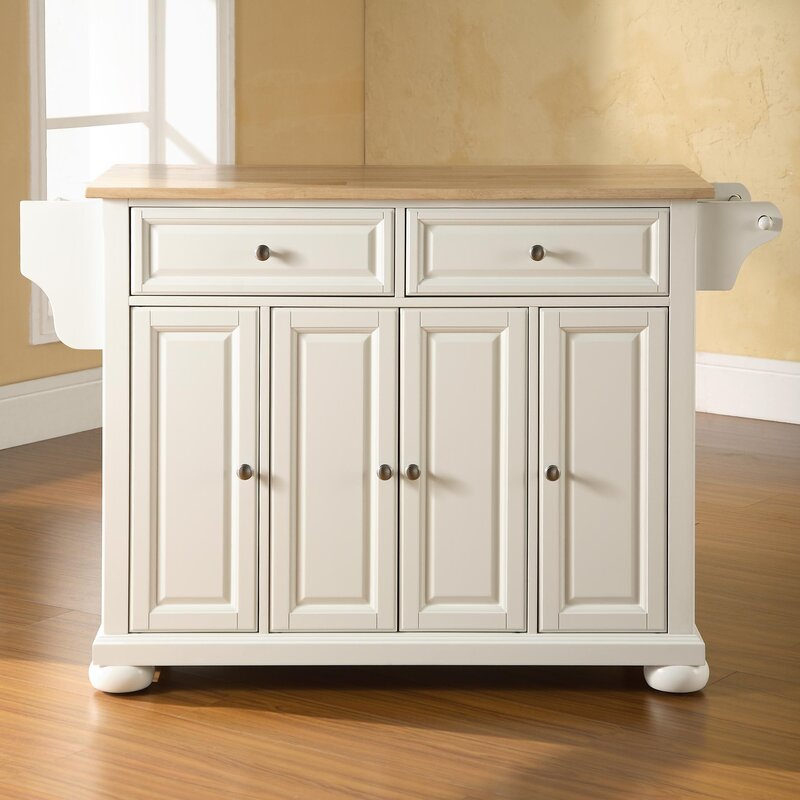 Darby Home Co Pottstown Kitchen Island With Wood Top Reviews