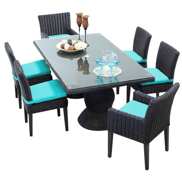 Eldredge 7 Piece Dining Set with Cushions by Rosecliff Heights
