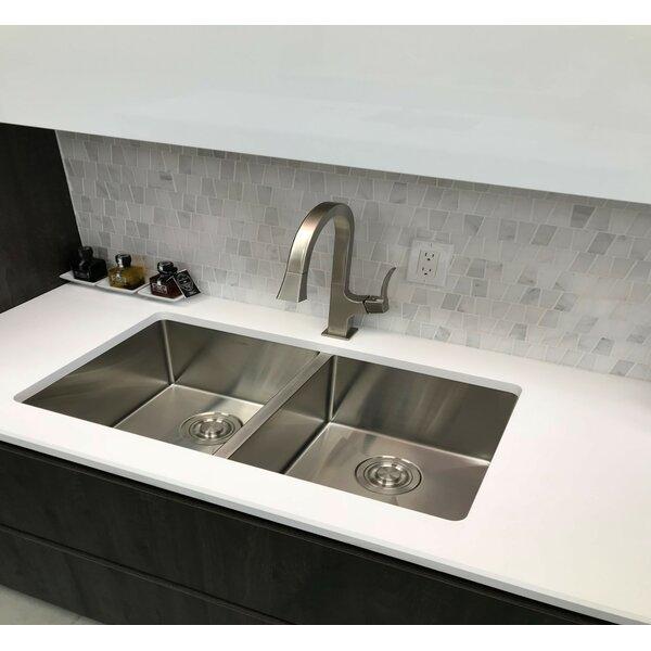 32 x 18 Double Basin Undermount Kitchen Sink with Basket Strainer by Stylish