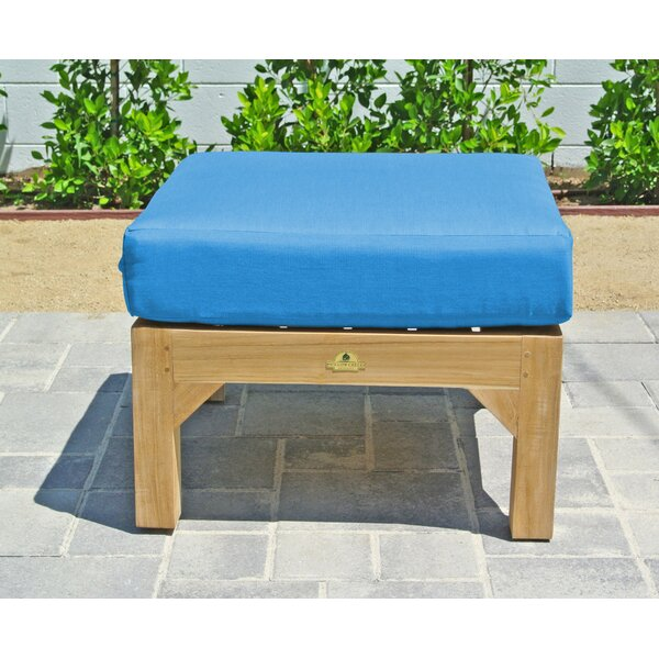 Outdoor Teak Ottoman with Sunbrella Cushion by Willow Creek Designs