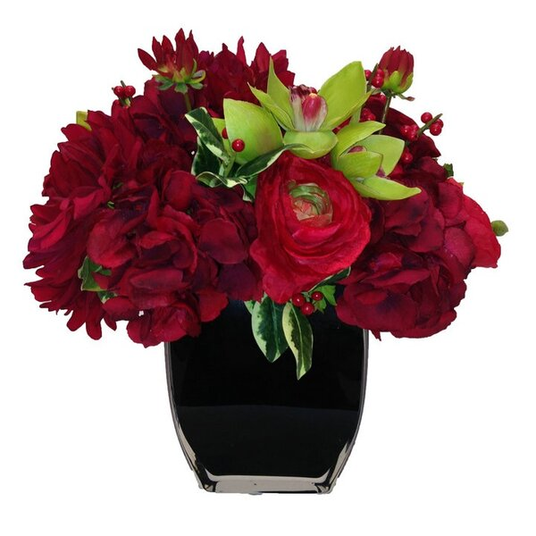Rose and Hydrangea Floral Arrangement in Vase by Red Barrel Studio