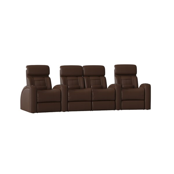 Up To 70% Off Diamond Stitch Home Theater Row Curved Seating With Chaise Footrest (Row Of 4)