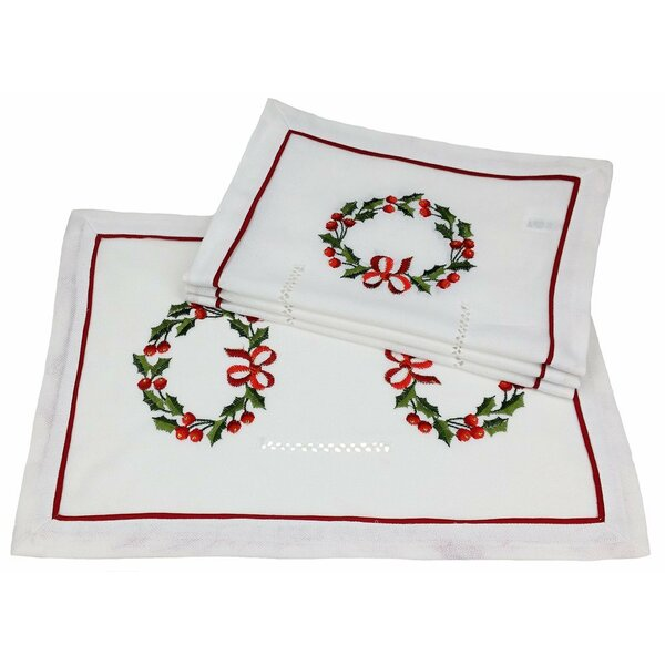 Country Wreath Embroidered Hemstitch Holiday Placemat (Set of 4) by Xia Home Fashions