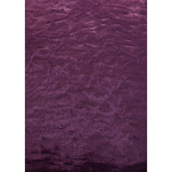 Tennyson Faux Fur Dark Purple Area Rug by Rosdorf Park