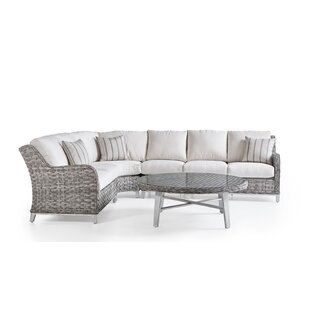 Cape Lookout 5 Piece Rattan Sectional Set With Cushions By South Sea Rattan