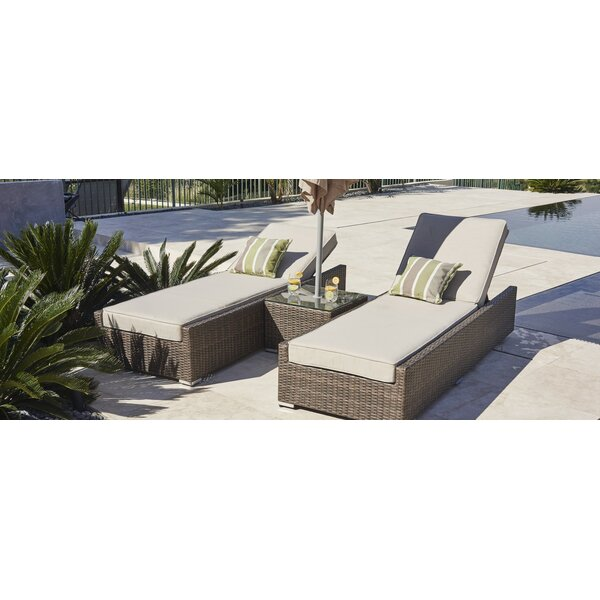 Rezendes Contemporary Reclining Chaise Lounge Set with Cushions and Table by Orren Ellis