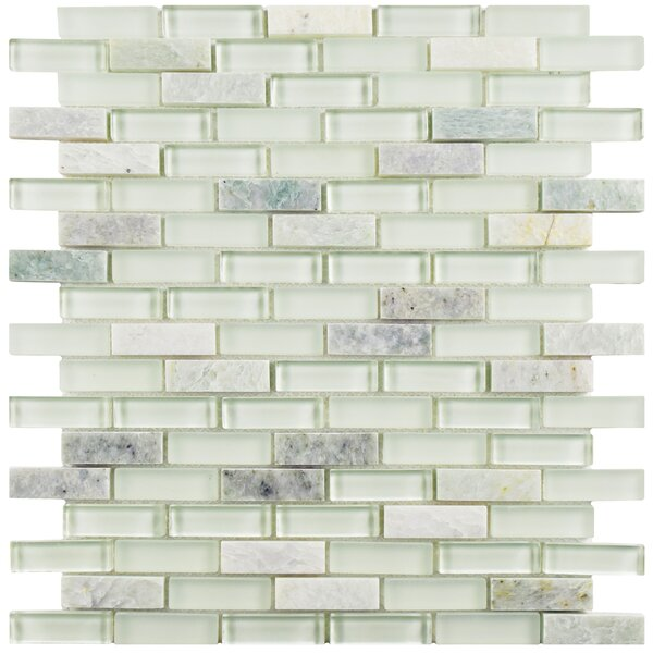 Sierra 0.58 x 1.88 Glass and Natural Stone Mosaic Tile in Ming by EliteTile