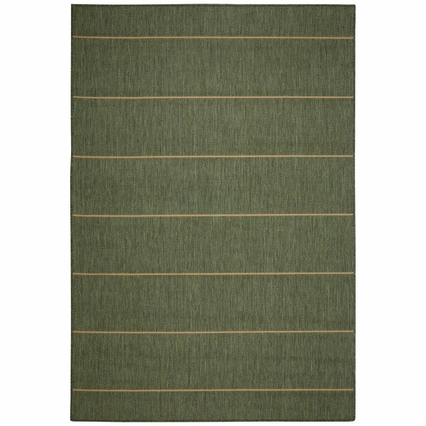 Egbert Green Stripe Indoor/Outdoor Area Rug by Charlton Home