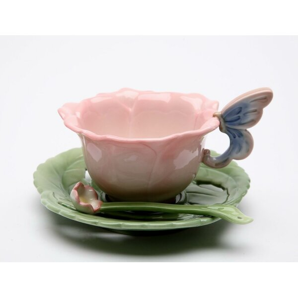 Ramey Pink Rose Cup and Saucer Procelain Set (Set of 2) by August Grove