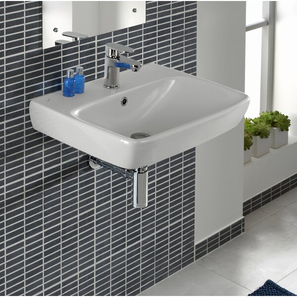 Ceramic Rectangular 22 Wall Mount Bathroom Sink with Overflow by Bissonnet
