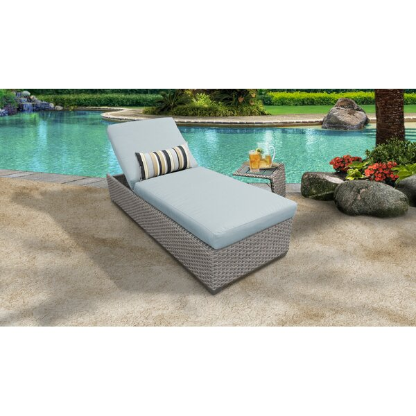 Meeks Outdoor Chaise Lounge Set with Cushion and Table by Rosecliff Heights