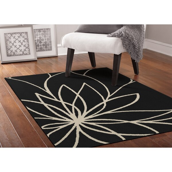 Grand Floral Black/Ivory Area Rug by Garland Rug