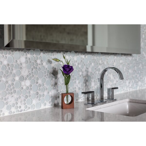 Lucente 12 x 12 Glass Stone Blend Circle Mosaic Tile in Ambrato by Emser Tile