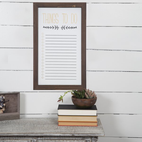 Wood to Do List Wall Mounted Whiteboard, 21.5 x 13