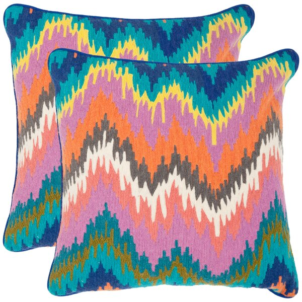 Dripping Stiches Neon Cotton Throw Pillow (Set of 2) by Safavieh