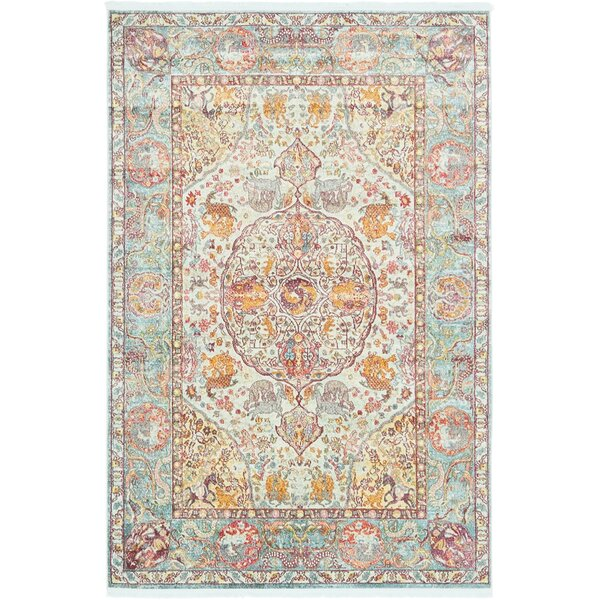 Lonerock Aqua/Yellow Area Rug by Bungalow Rose