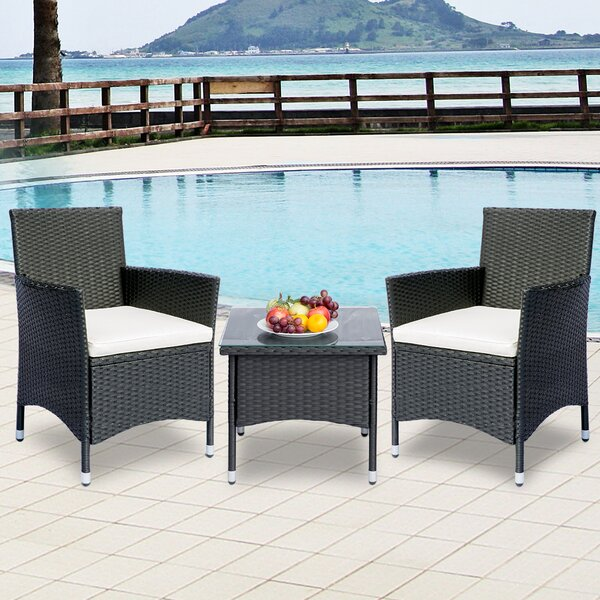 Spencerport 3 Piece Rattan Seating Group with Cushions by Ebern Designs