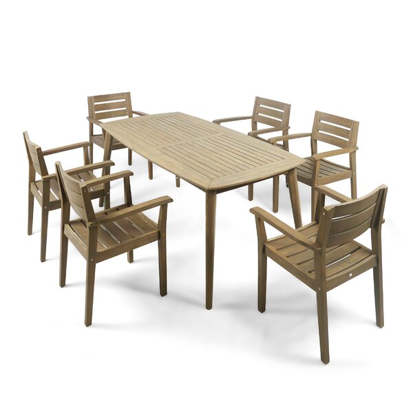 Ramage Outdoor Acacia Wood 7 Piece Dining Set by Gracie Oaks