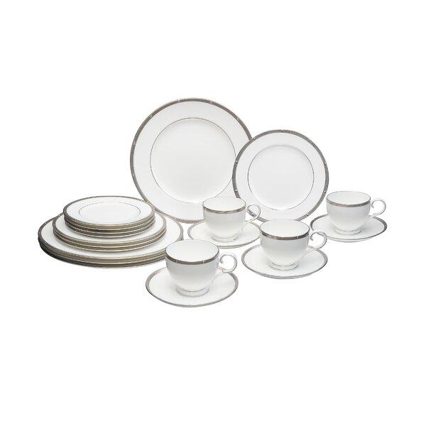 Rochelle Platinum Bone China 20 Piece Dinnerware Set, Service for 4 by Noritake