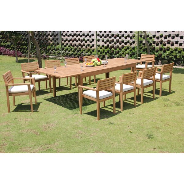Marsily 11 Piece Teak Dining Set by Rosecliff Heights