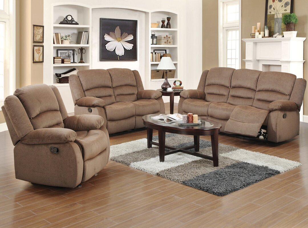 Red barrel studio maxine 3 piece living room set reviews for 3 piece living room furniture